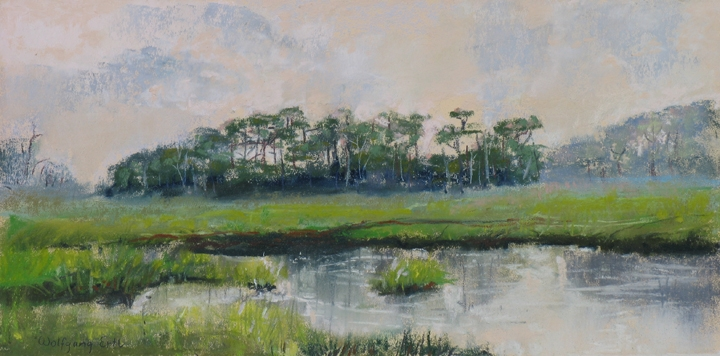 "Marsh Tranquility, Pastel, 6"" x 12"" (2012)"