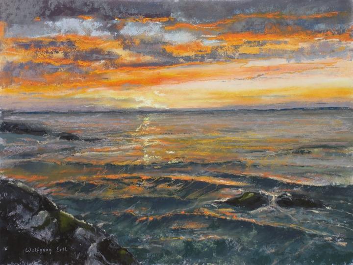 "Monhegan Sunset, Pastel, 12"" x 16"" (2012)"