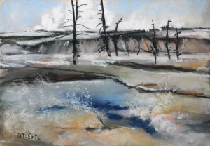 """Steaming Spring, Yellowstone 2, Pastel, 4.5"""" x 6.5"""" (2015)"""