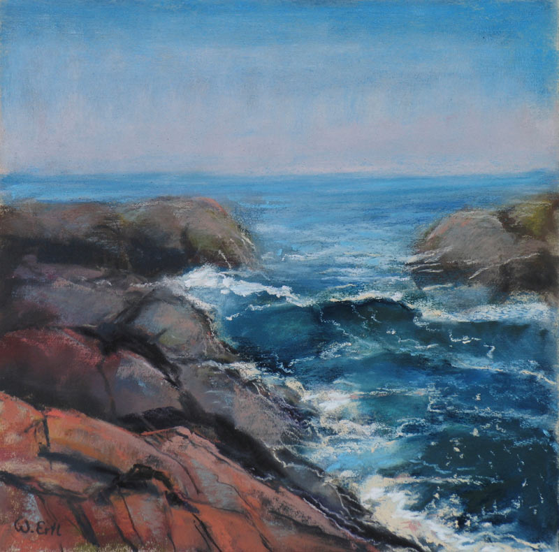 Monhegan Surf 2, Pastel, 8 x 8 in. (2013) - Sold
