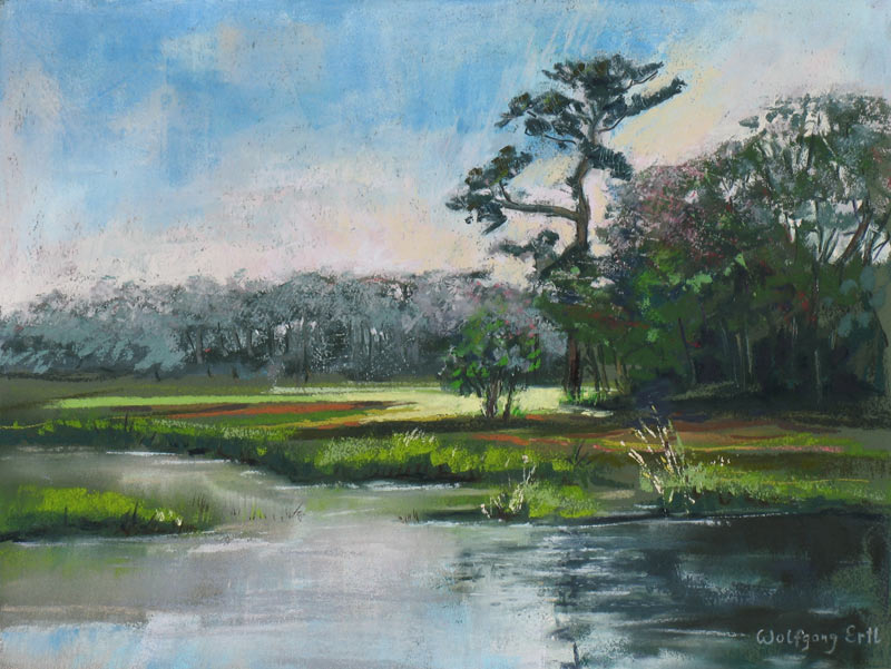 Rye Marsh Evening 6, Pastel, 9 x 12 in. (2014) - Sold