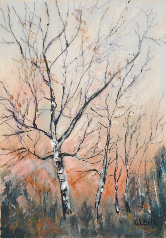 "Autumn Birches 5, Pastel, 4.5"" x 6.5"" (2015)"