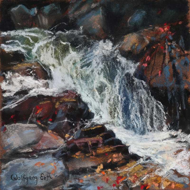 "Autumn Falls 4, Pastel, 6"" x 6"" (2015)"