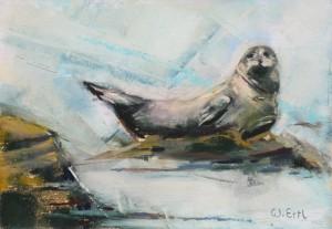 """Seal, Pastel, 4.5"""" x 6.5"""" (2015)"""