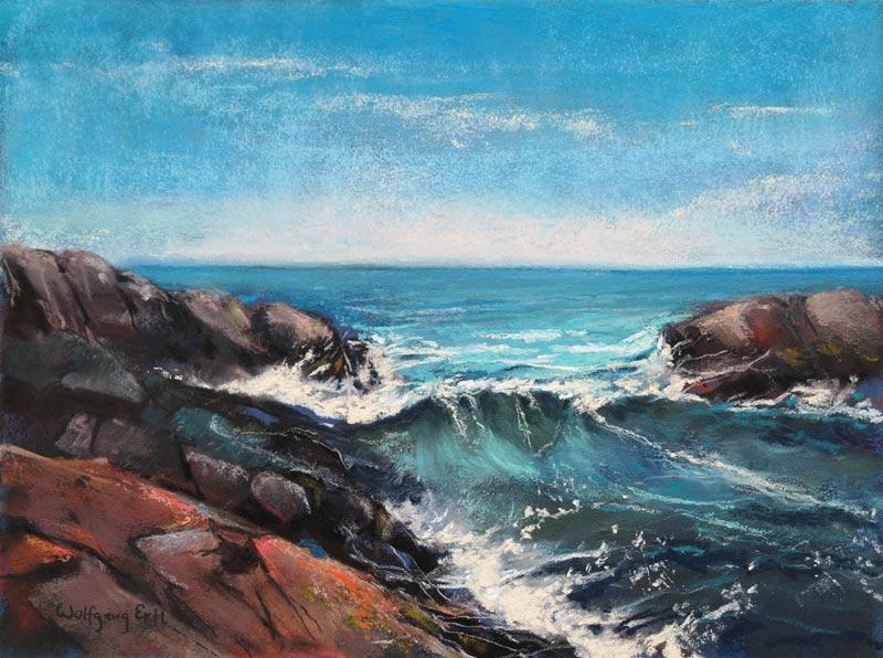 "Monhegan Surf 3, Pastel, 9"" x 12"" (2015)"