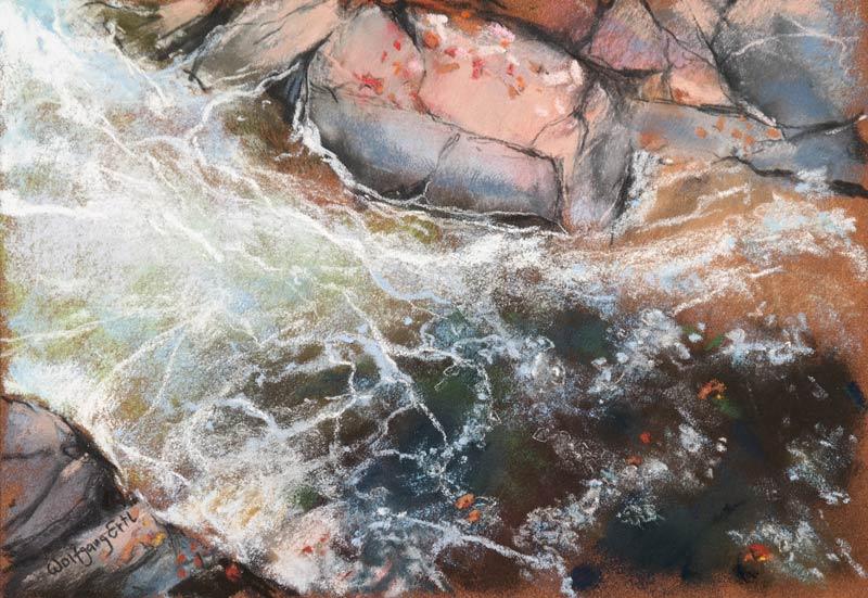 "Autumn Falls 5, Pastel, 7"" x 10"" (2015)"