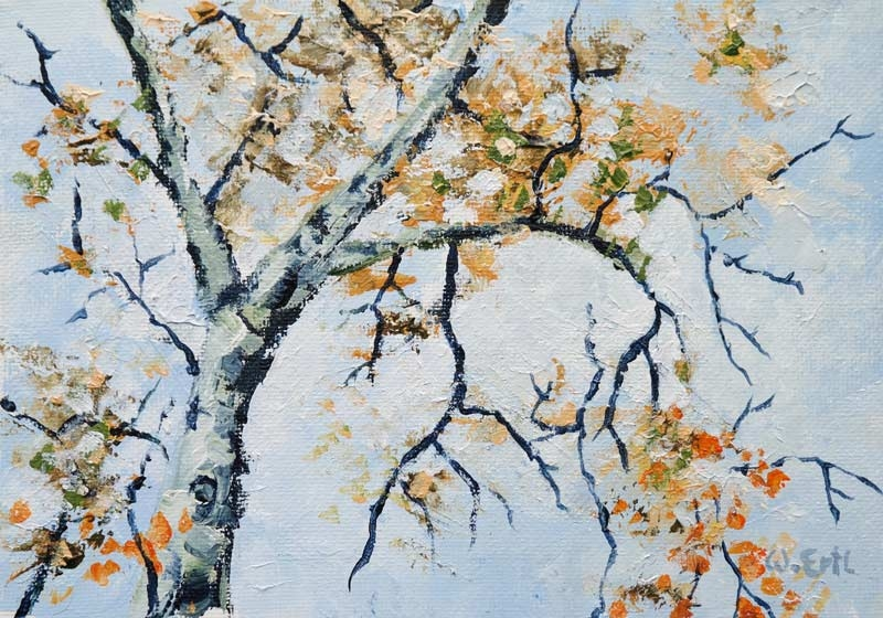 "Autumn Birch, Acrylic, 5"" x 7"" (2017)"