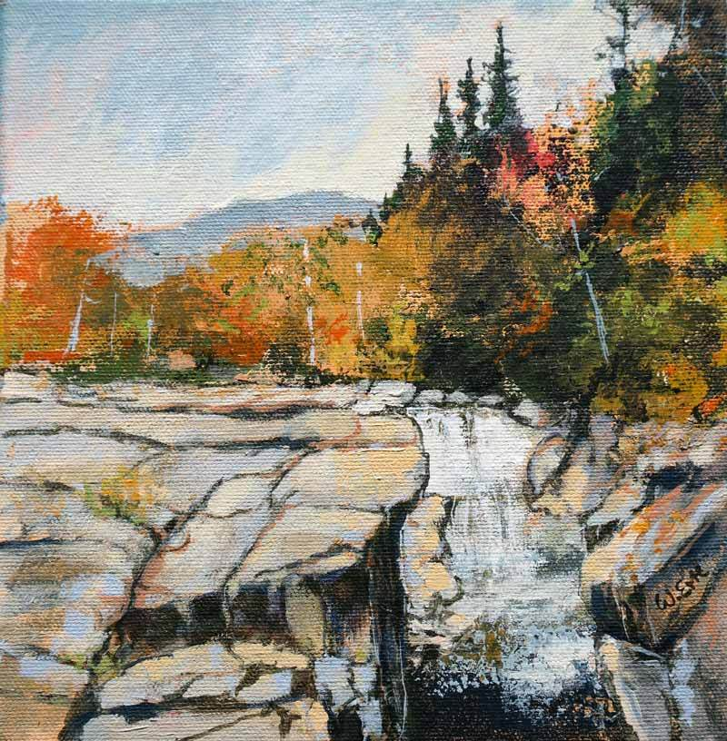 "Autumn Falls, White Mountains, Acrylic on Canvas, 8"" x 8"" (2019)"