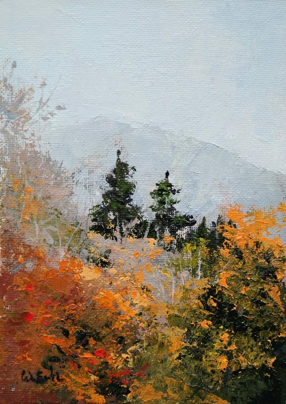 "Autumn View, Acrylic, 7"" x 5"" (2017)"