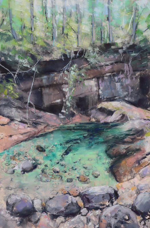 "Emerald Pool 2, Pastel, 18' x 12"" (2019)"