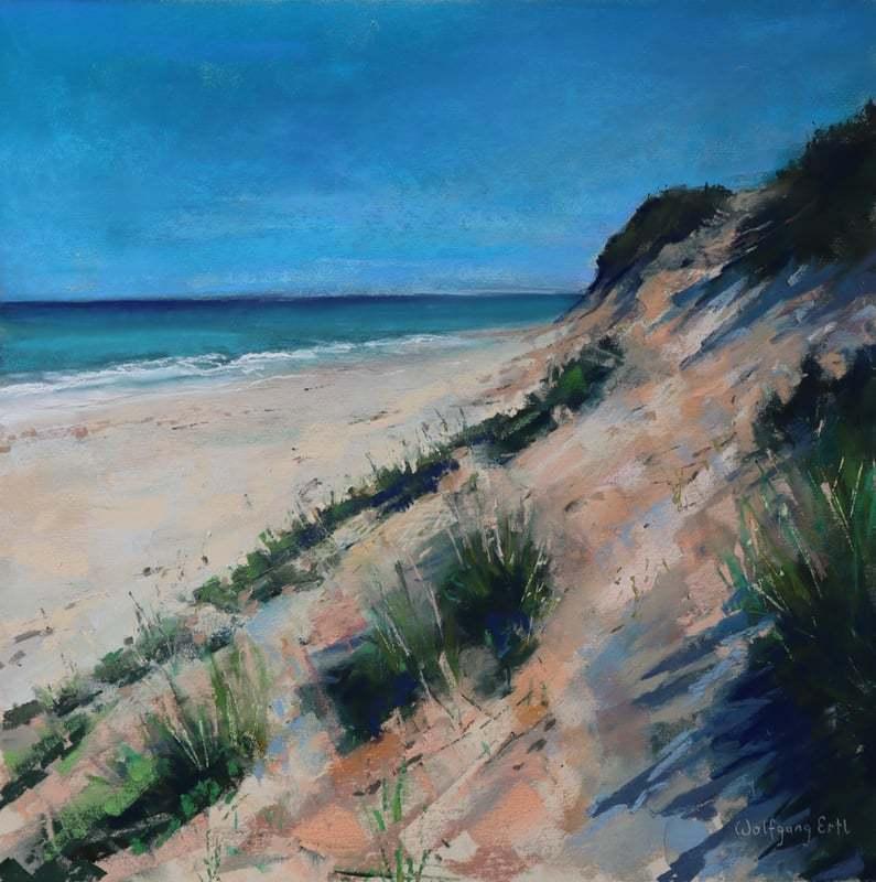 "Marconi Beach, Pastel, 14"" x 14"" (2021)"