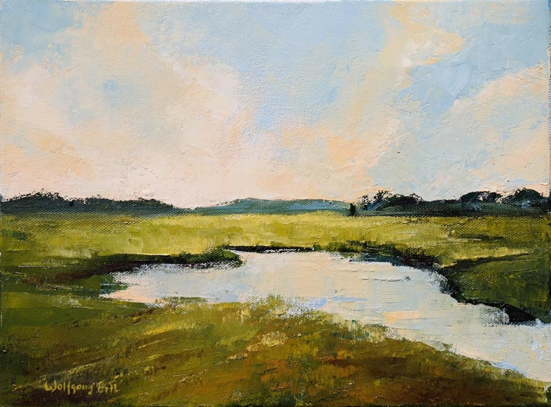 "Rye Marsh Evening 2, Oil on Canvas, 9"" x 12"" (2018)"