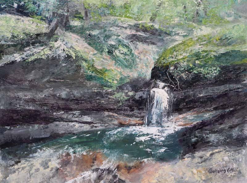 """Sabbaday Splashes, Oil on Panel, 9"""" x 12"""" (2019)"""