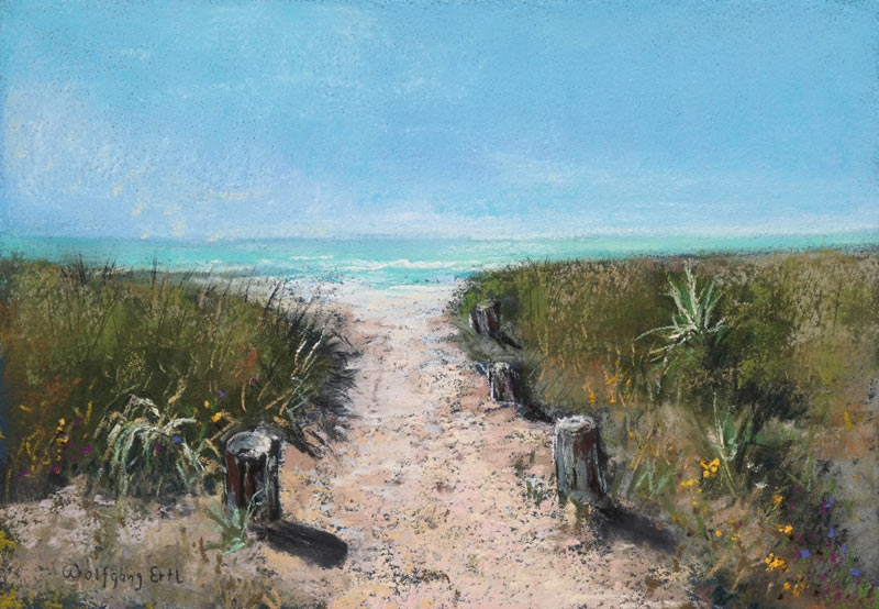 "To the Beach 2, Pastel, 7"" x 10"" (2017)"