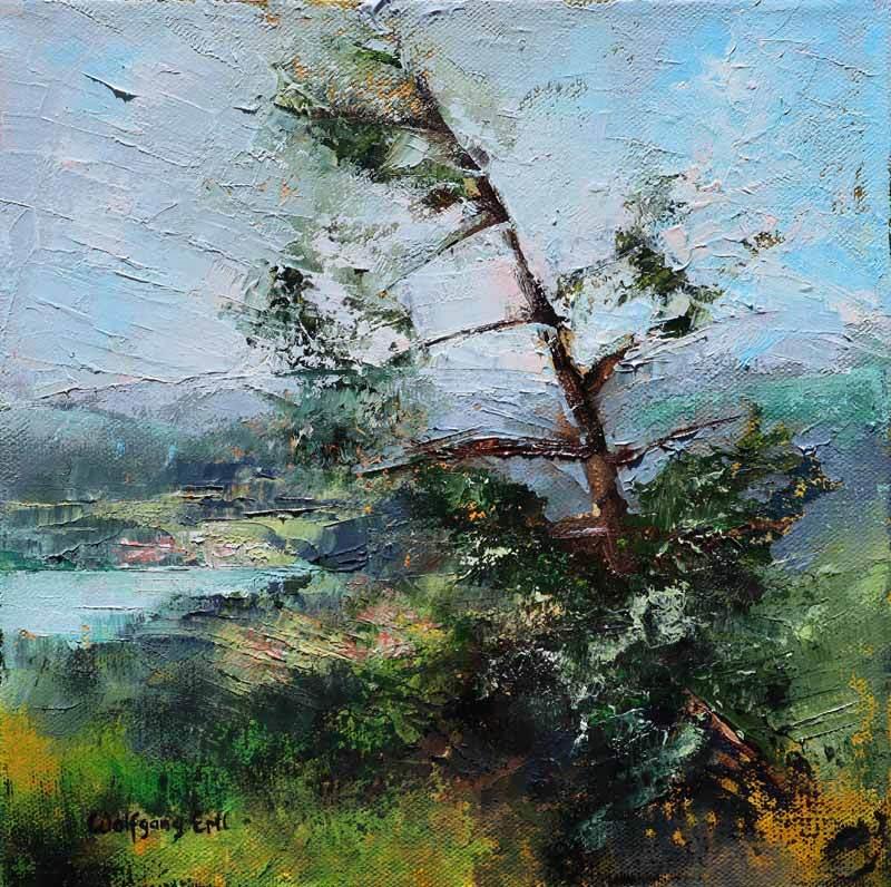 "Alpine View, Oil on Canvas, 10"" x 10"" (2020)"