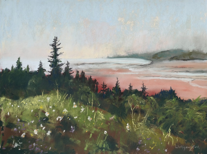"Bay of Fundy, Low Tide 3, Pastel, 9"" x 12"" (2019)"