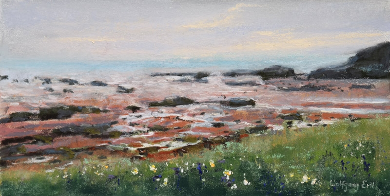 "Bay of Fundy, Low Tide, Pastel, 6"" x 12' (2018)"