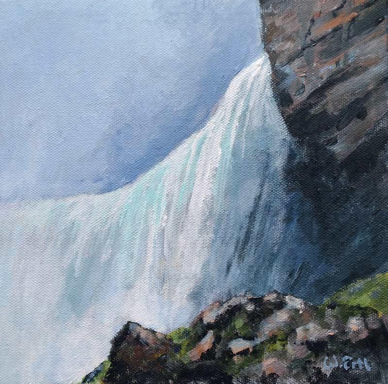 """Horseshoe Falls, Acrylic on Canvas, 8"""" x 8"""" (2018)"""