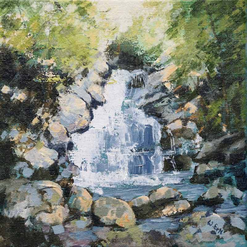 "Wahconah Falls, Acrylic on Canvas, 8"" x 8"" (2019)"