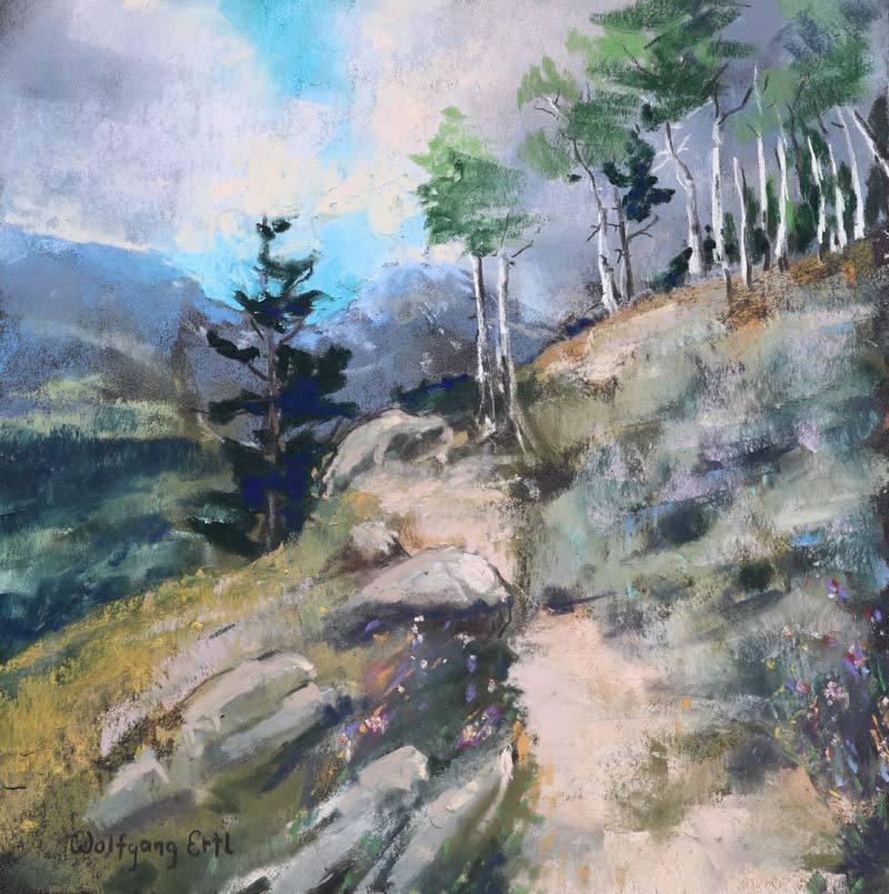 "Rocky Mountain Reminiscences, Pastel, 8"" x 8"" (2020)"